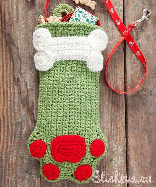 Рождественский носок – собачья лапка вязаный крючком