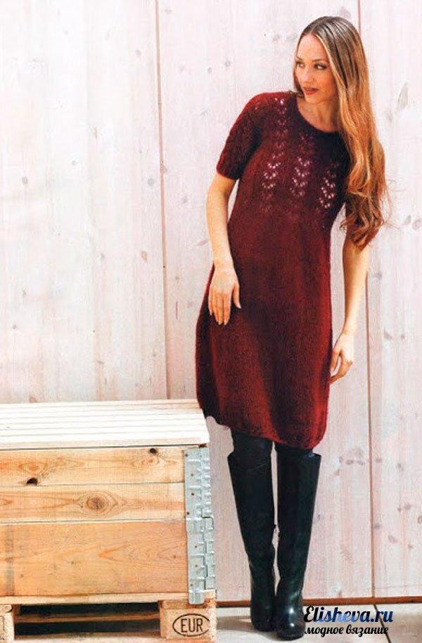 Платье с ажурным верхом вязаное спицами