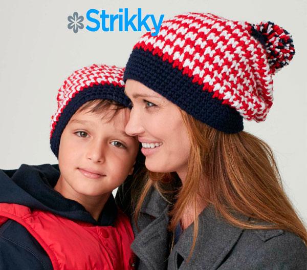 Полосатые шапки для всей семьи, вязаные крючком