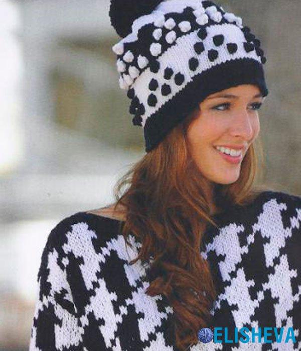 Черно-белая шапка с шишечками и помпоном, вязаная спицами
