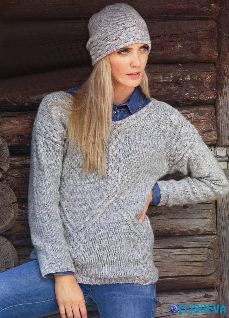 Комплект: Шапка и пуловер с шикарным узором из аранов, вязаный спицами