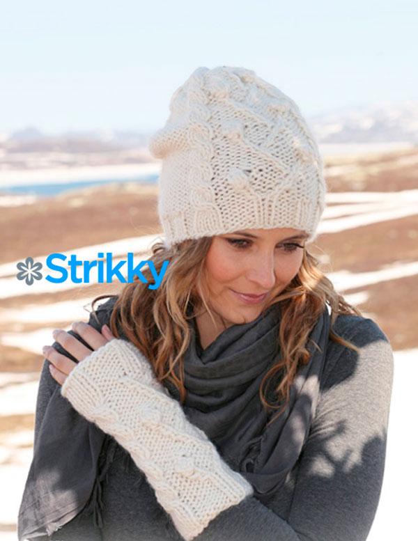 Комплект: шапка и митенки от Drops Design, вязаные спицами