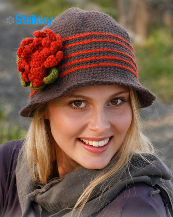 Шляпа «Miss Potter», от Drops Design, вязаная крючком