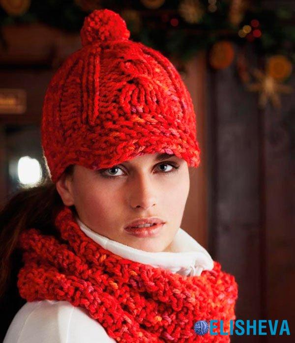 """Комплект: кепка и шарф-хомут """"Наездница"""", вязаный спицами"""
