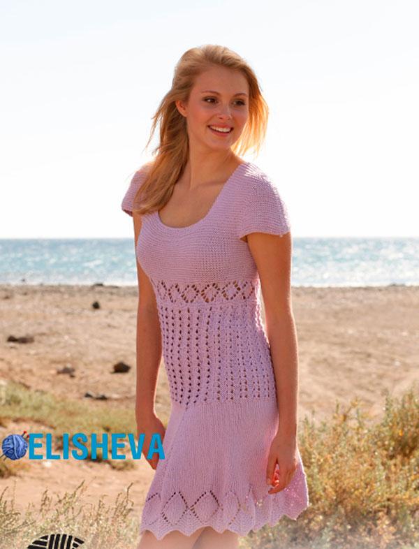 """Летнее платье """"Эмма"""" от Drops Design, вязаное спицами"""