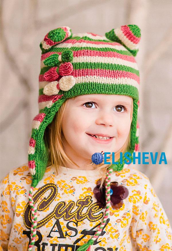 Детская шапка в полоску с прикольными ушками, вязаная спицами