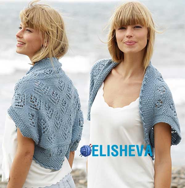 Пляжное ажурное болеро от Drops Design: описание вязания спицами