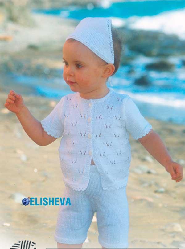 Детский вязаный спицами комплект из шортиков, косынки и ажурной кофточки