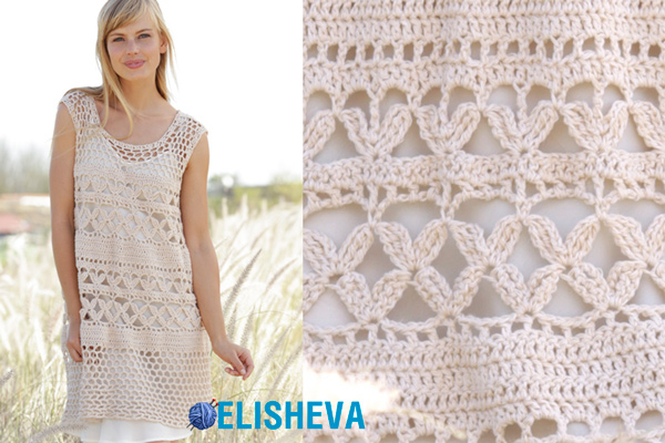 Летнее ажурное платье пудрового цвета вязаное крючком