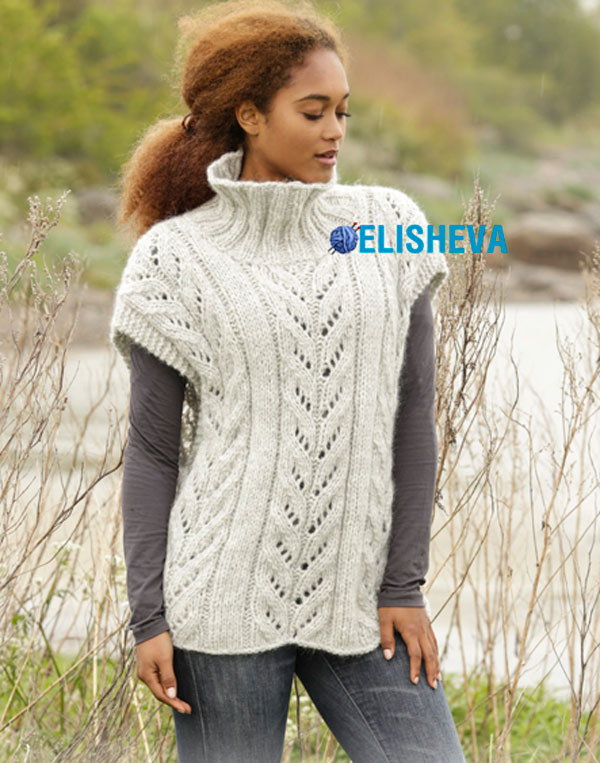 Красивое женское пончо от Drops Design вязаное спицами