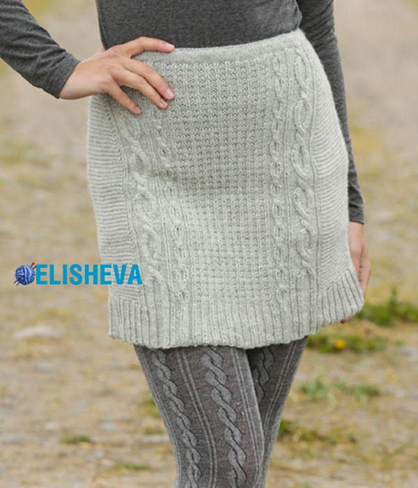 Красивая юбка с узорами от Drops Design: описание вязания спицами и схема
