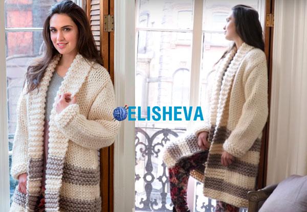 Модное женское пальто от Heather Lodinsky из толстой пряжи, вязаное спицами (+ ВИДЕО)