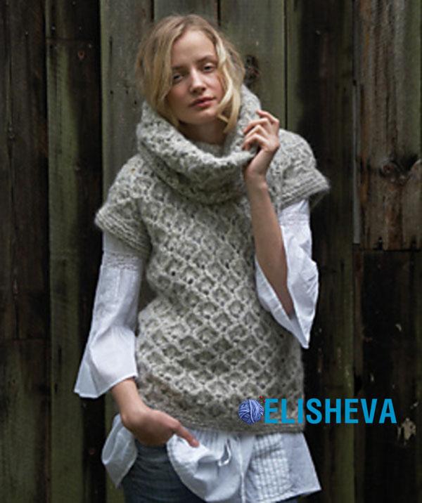 Женский пуловер «Амбра» с коротким рукавом от Lisa Richardson вязаный спицами