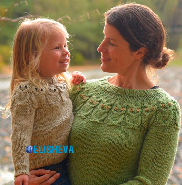 Пуловер вязаный спицами «Совы» по методике Кейт Дэвис