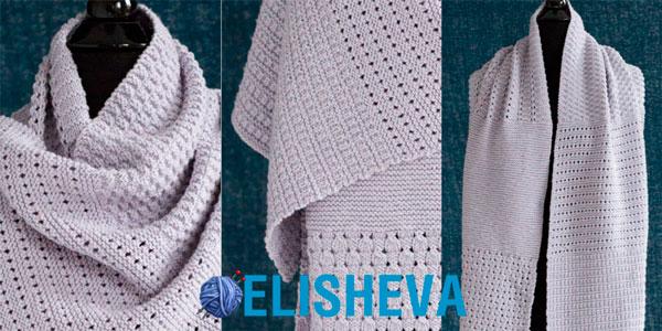 Палантин «6 узоров» вязаный спицами от <u>аранские ирландские узоры спицами</u> Lisa Craig, журнал Vogue Knitting