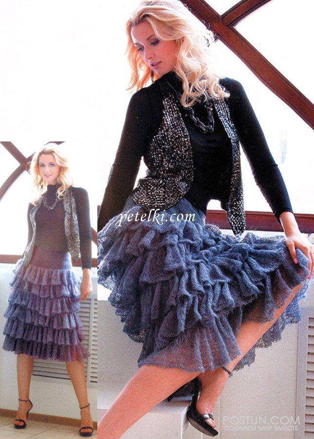 кружевная юбка из мохера с