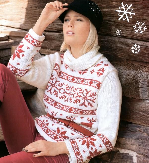 Стильный пуловер с зимними