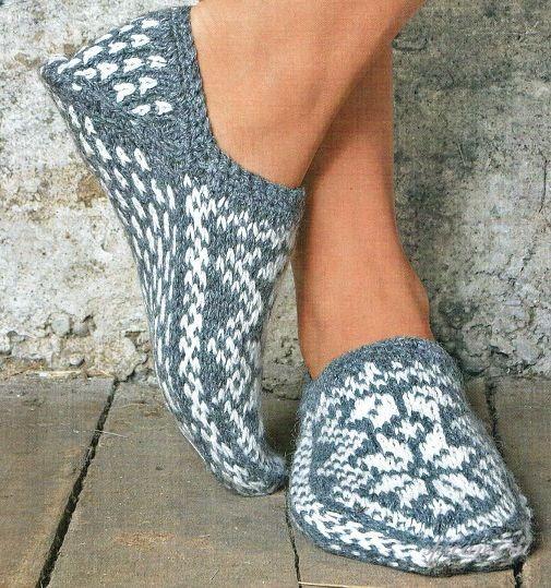 Вязание крючком и спицами носки тапочки описание