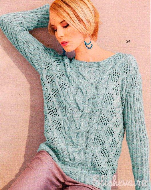 Схема; Пуловер узорчатый цвета
