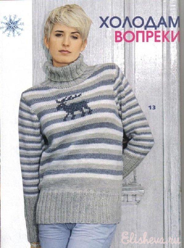 Свитер-пуловер с оленем