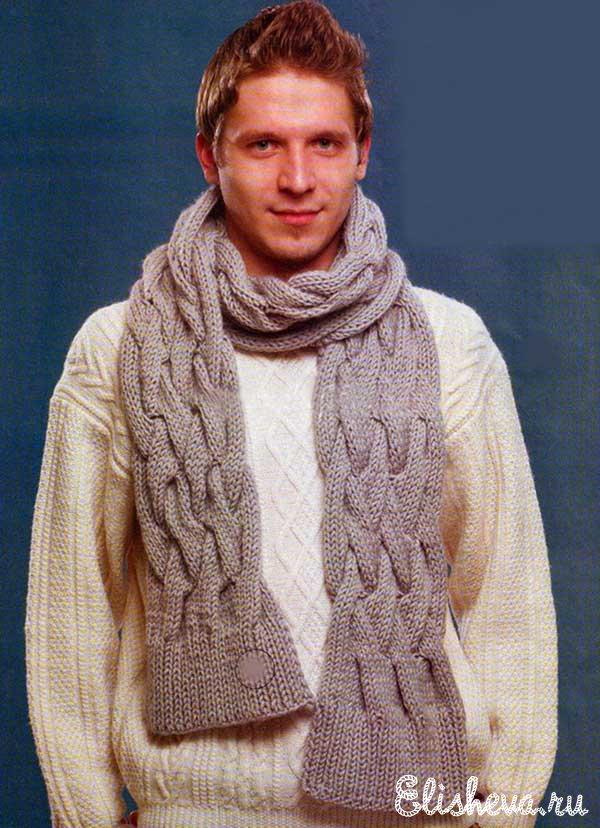 и шарф вязаные спицами