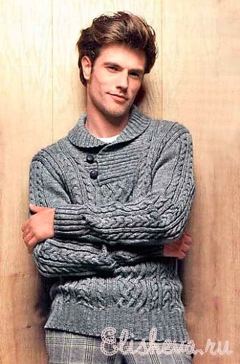 Мужской пуловер серого цвета