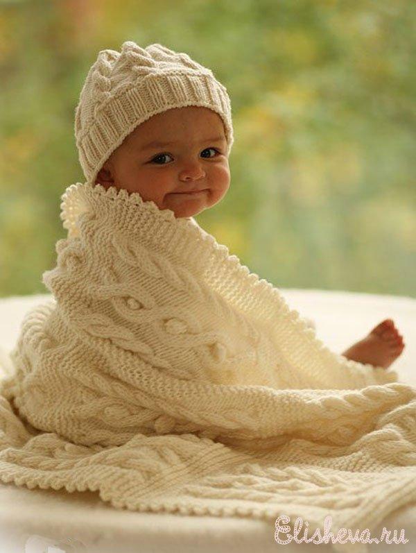 плед для малыша вязаный
