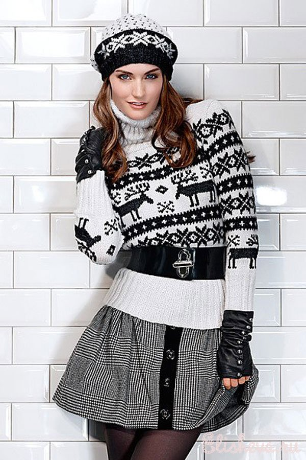 женский пуловер с жаккардовым