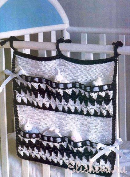 Чудо-кармашки для детской кроватки.  Как вам идея, связать крючком.
