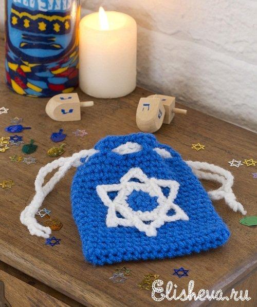 настоящий еврейский аксессуар вязаный чехол для телефона со звездой