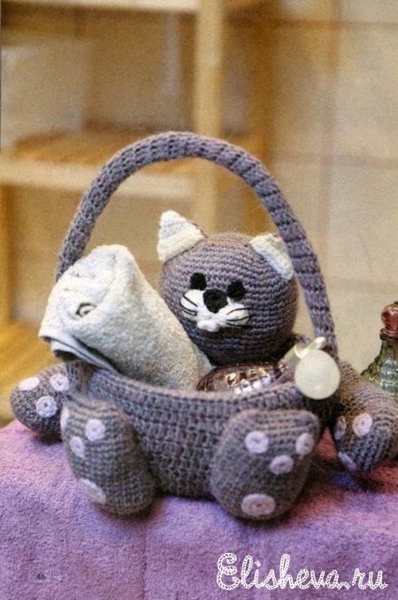 Кот – корзина для ванной