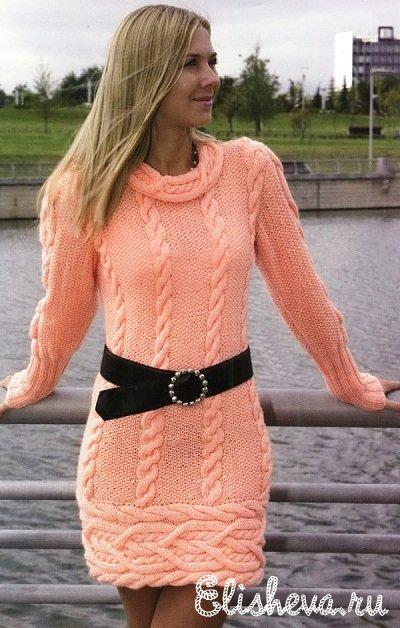 спицами · Платье-туника с