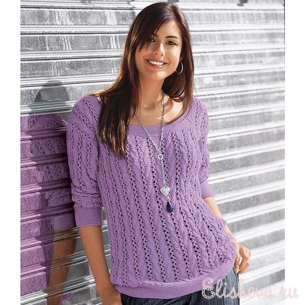 ажурный пуловер сиреневого цвета вязаный спицами