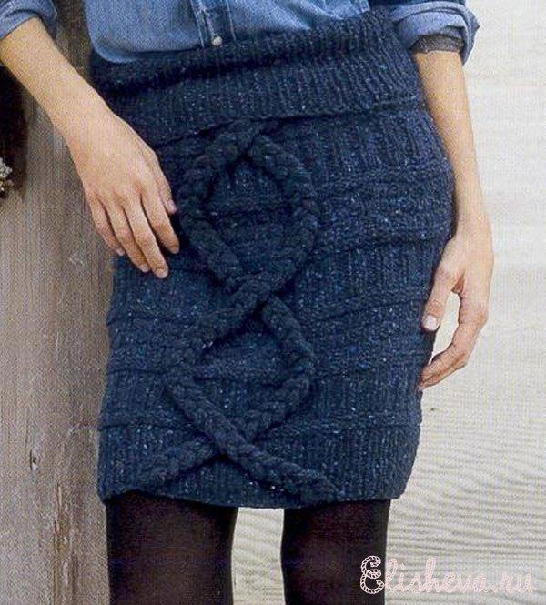 Вязанные юбки косы спицы