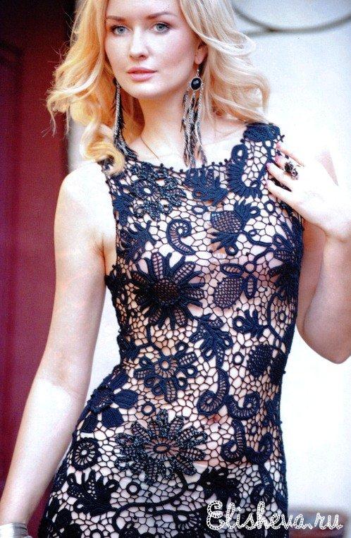 Ажурное черное вечернее платье