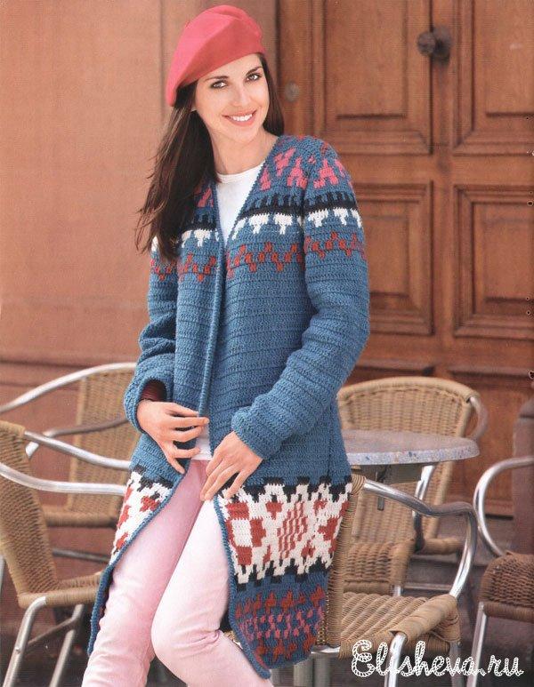 Пальто с жаккардовым узором вязаное крючком