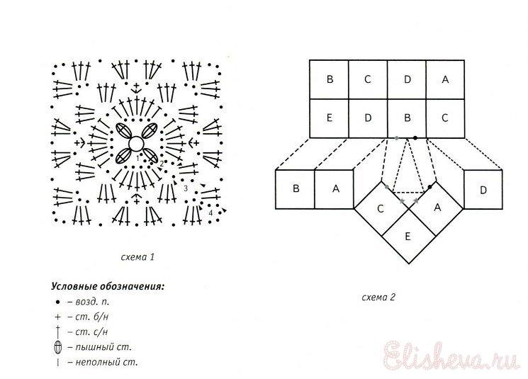 Вязание крючком тапочек из квадратов схемы описание 93