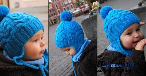 шапочка с помпоном на завязках для малыша вязаная спицами