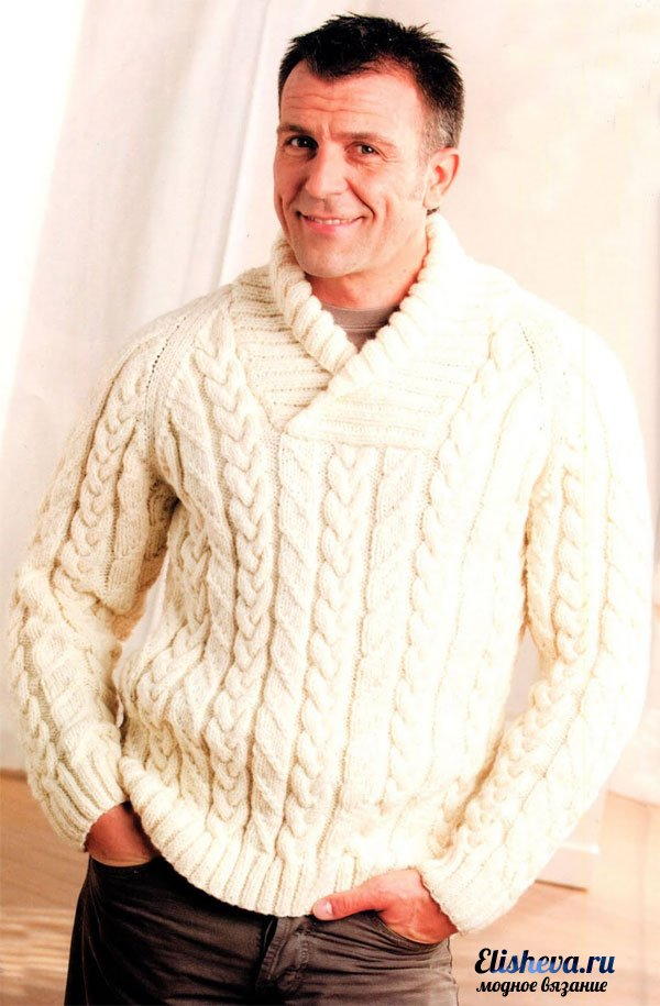 спицами; Мужской пуловер с