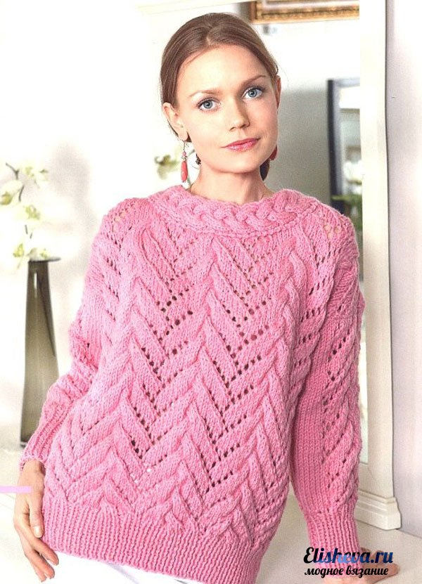 Ажурный свитер с косами