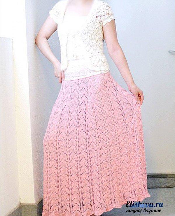 Длинная ажурная юбка вязаная