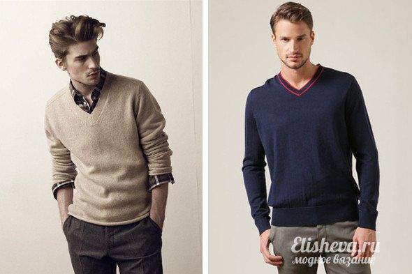 Пуловер С Рубашкой Мужской