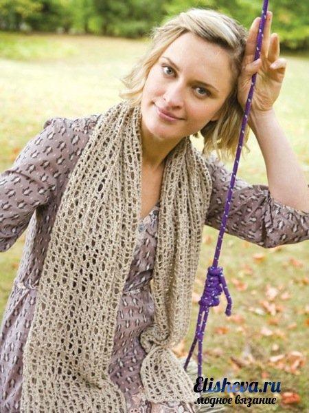 Весенний шарф узором сеточка