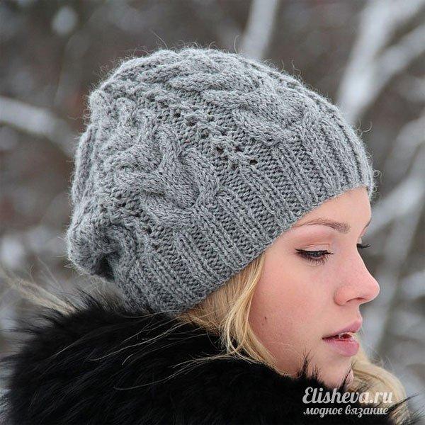 Схема вязания шапки с помпонами спицами