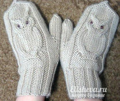 Варежки-совы вязанные спицами