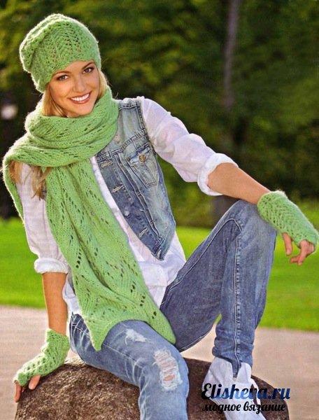 Изящный набор: шапка, шарф и