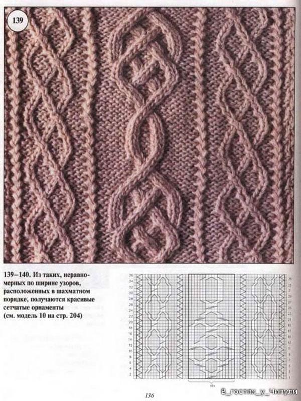 Схемы вязания ирландских спицами узоров