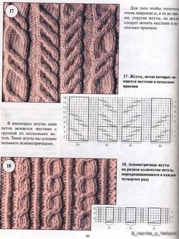 169Вязание спицами узор косы жгуты араны