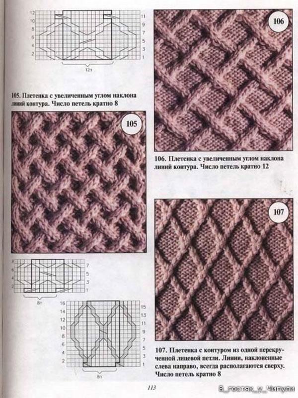 узоры в виде плетенок спицами