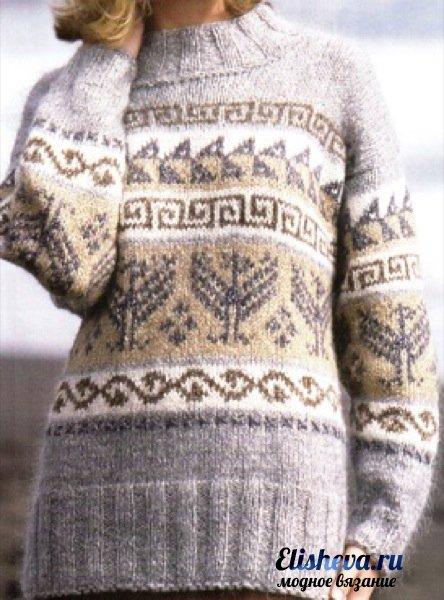 Вязаный свитер с скандинавским